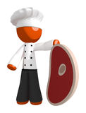Orange Man Chef Holding Giant Steak Royalty Free Stock Photo