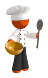 Orange Man Chef with Mixing Bowl and Spoon Royalty Free Stock Images