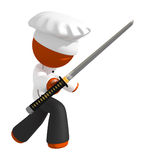 Orange Man Chef with Ninja Sword on Defense Royalty Free Stock Photos