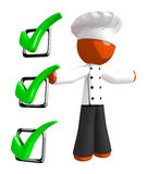 Orange Man Chef Recipe Checklist Concept Large Checkmarks Royalty Free Stock Image
