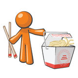 Orange Man with Chinese Food. And copsticks, takeout Stock Photo
