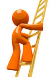 Orange Man Climbing Gold Corporate Ladder Royalty Free Stock Photos