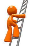Orange Man Climbing Ladder Industrial Stock Photography