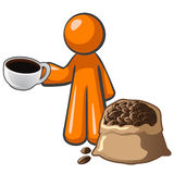 Orange Man with Coffee Cup and Coffee Bag Royalty Free Stock Images