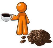 Orange Man with Coffee Cup and Coffee Beans Stock Photos