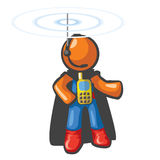 Orange Man Communications Hero. With phone on his chest and antennae on his head. He's in touch and ready to save the day from a safe distance Stock Photography