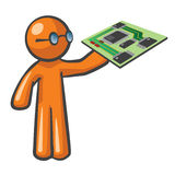 Orange Man Computer Mother Board Stock Images