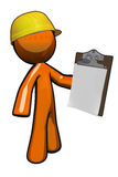Orange Man Construction Supervisor with Clipboard Stock Photo