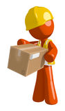 Orange Man Construction Worker  Box Delivery Royalty Free Stock Photos