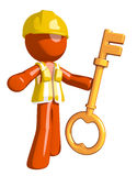 Orange Man Construction Worker  Holding Key Stock Images