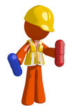Orange Man Construction Worker  Holding Pills Royalty Free Stock Photography