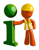 Orange Man Construction Worker  Info Icon Stock Photography