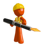 Orange Man Construction Worker Stock Photo