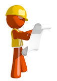 Orange Man Construction Worker  Reading Schematic Front Royalty Free Stock Images