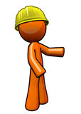 Orange man contractor with hard hat. Royalty Free Stock Photos