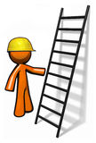 Orange man contractor with ladder and hard hat Stock Image