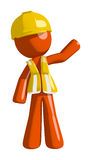 Orange Man contractor Waving. On white Royalty Free Stock Photography
