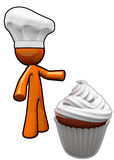 Orange Man Cook with Chef Hat Presenting Cupcake Stock Photo
