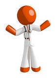 Orange Man Doctor Apathetic or Confused. Isolated on white Royalty Free Stock Photo