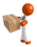Orange Man Doctor Delivering a Package. Isolated on white Royalty Free Stock Photo