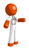 Orange Man Doctor gesturing right. Isolated on white Stock Photo
