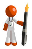 Orange Man Doctor Holding Fountain Pen Royalty Free Stock Image