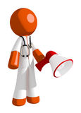Orange Man Doctor Holding Megaphone and Standing. Isolated on white Stock Images