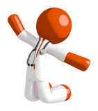 Orange Man Doctor Jumping or Kneeling. Isolated on white Royalty Free Stock Images