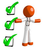 Orange Man Doctor Presenting Green Checkmark List. Isolated on white Royalty Free Stock Photo