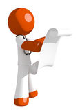 Orange Man Doctor Reading Schematic Front. On white Royalty Free Stock Image