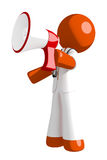 Orange Man Doctor Shouting in Bullhorn. Isolated on white Royalty Free Stock Photos