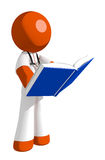 Orange Man Doctor Standing Reading Book. Isolated on white Stock Photos