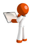 Orange Man Doctor Viewing Tablet Computer Back View Blank Space Royalty Free Stock Photos