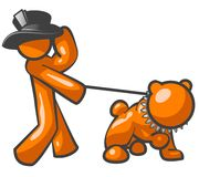Orange man and dog. A bright illustration or cartoon of an orange man with black top hat walking an orange dog on a leash Stock Photos