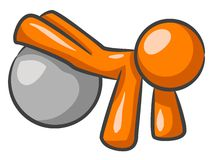 Orange man doing push-ups. An illustration of an orange figure, popping his legs up on an exercise ball as he does some push-ups Royalty Free Stock Image
