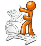 Orange man exercising. A cartoon drawing of an orange man working out on a step master exercise machine Stock Photos