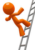 Orange Man Falling From Ladder Accident Stock Image