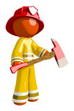 Orange Man Firefighter Hero with Ax. On white Royalty Free Stock Photo