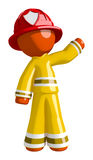 Orange Man Firefighter Waving Royalty Free Stock Image
