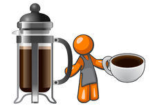Orange Man with French Press and Coffee Cup Royalty Free Stock Image