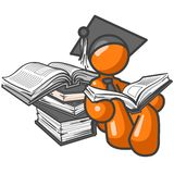 Orange man graduate figure. Orange figure as graduate with stacks of books; part of orange man series Royalty Free Stock Images
