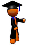 Orange Man Graduate with Robe Stock Photo