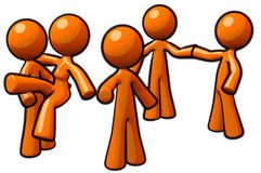 Orange Man Group Team Workers Stock Photography