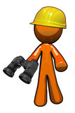 Orange Man with Hard Hat and Binoculars Stock Photos