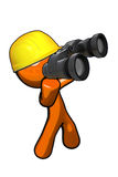 Orange Man with Hard Hat and Binoculars Royalty Free Stock Photos