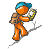 Orange Man Hiking with GPS Royalty Free Stock Photo