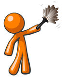 Orange Man Holding Feather Duster Royalty Free Stock Photos
