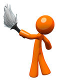 Orange Man Holding Feather Duster Stock Photo