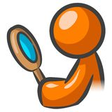 Orange man holding mirror. An abstract illustration of an orange man looking into a small, round mirror which he is holding Stock Photos
