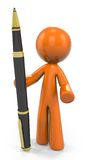 Orange man holding pen. An abstract, three-dimensional orange man, holding a tall ballpoint pen.  White background Royalty Free Stock Photo